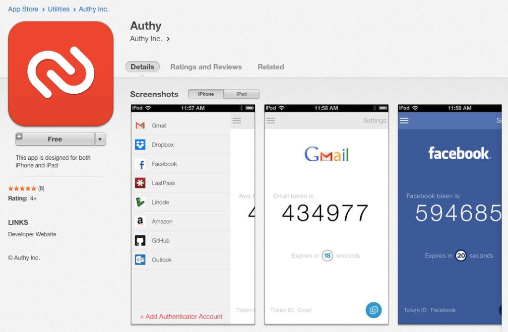Authy app for iOS